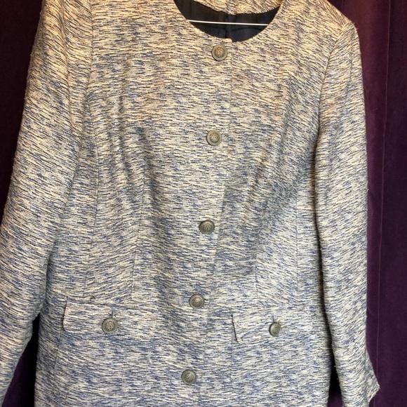 Raw silk style collarless jacket.